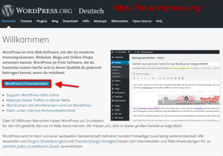 WordPress Installieren 2. Schritt: WordPress herunterladen