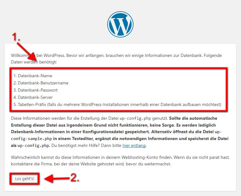 WordPress Installieren 4. Schritt: Domain aufrufen