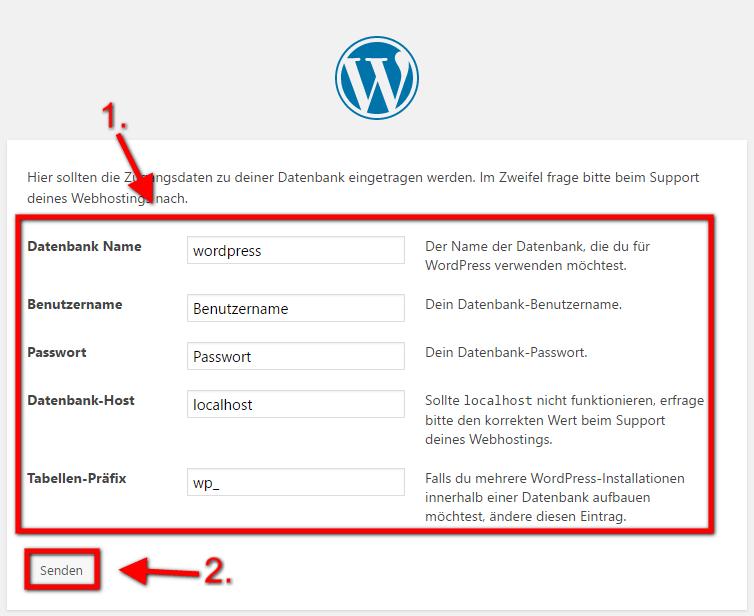 WordPress Installieren 5. Schritt: Datenbank eintragen