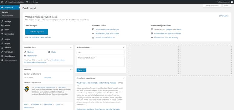 WordPress Installieren 8. Schritt: WordPress installieren und Webseite erstellen
