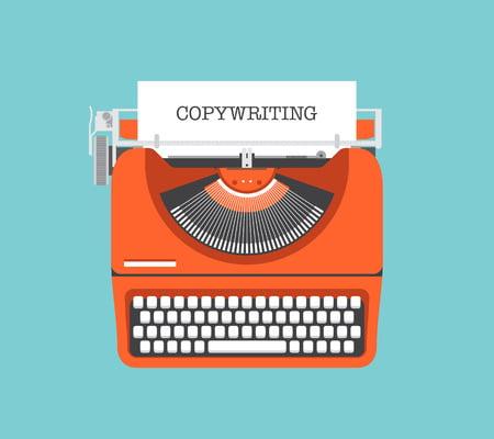 illustration concept of copywriting marketing information isolated on stylish color background