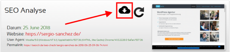 Downloadbutton von Analyseergebnis