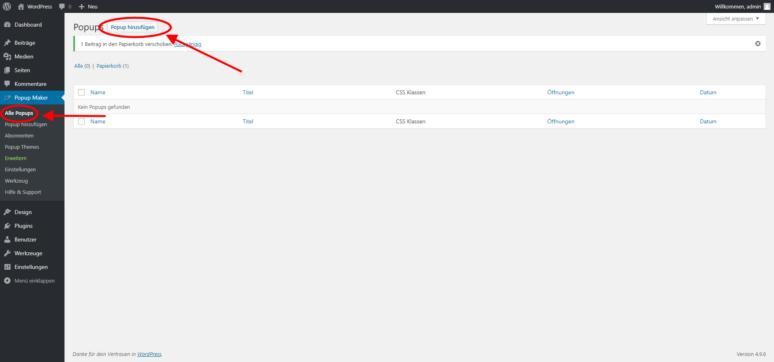 Screenshot Popup Maker WordPress Plugin Neu hinzufügen