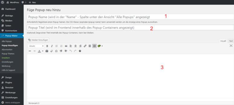 Screenshot Popup Maker WordPress Plugin hinzufügen Felder