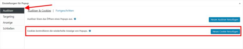 Screenshot Popup Maker WordPress Plugin Einstellungen Auslöser Cookies