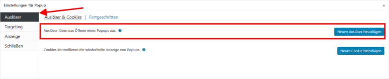 Screenshot Popup Maker WordPress Plugin Einstellungen Auslöser hinzufügen