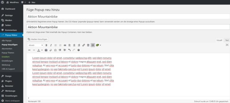 Screenshot Popup Maker WordPress Plugin hinzufügen Editor