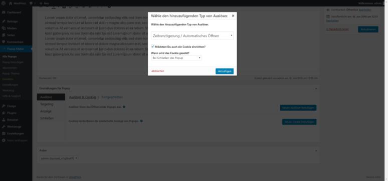 Screenshot Popup Maker WordPress Plugin Einstellungen Typ des Auslösers
