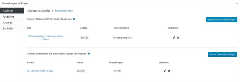Screenshot Popup Maker WordPress Plugin Einstellungen für Popup