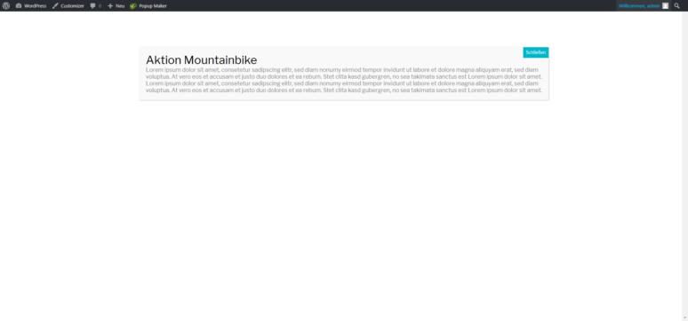 Screenshot WordPress Popup Maker Ausgabe