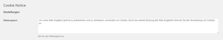 WordPress Plugin Cookie Notice for GDPR Meldungstext