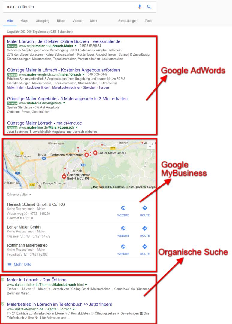 Unterschiede der Google Anzeige/Liste