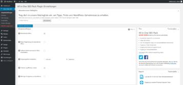 Wordpress Plugin All in One SEO Übersicht