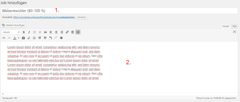 WordPress Jobboard Inserat erstellen