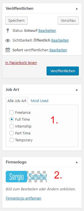 WordPress Jobboard Inserat erstellen 2