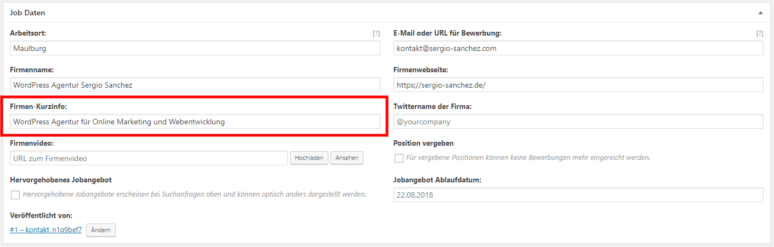 WordPress Jobboard Inserat erstellen 3