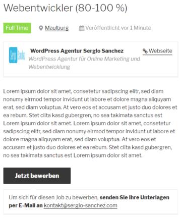 WordPress Jobboard Inserat erstellen 4