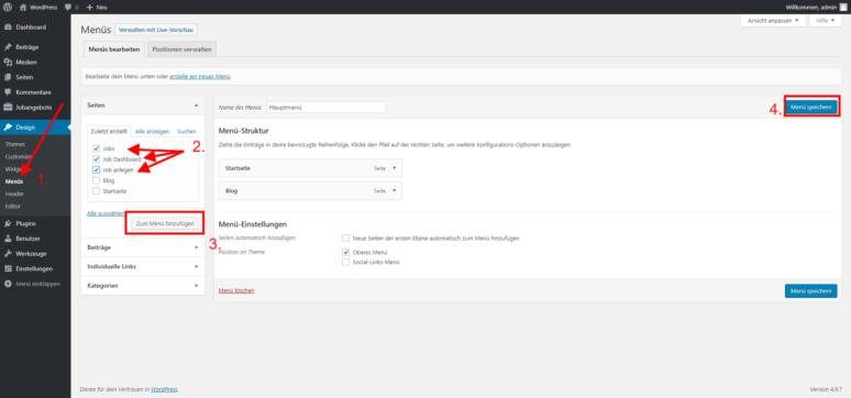 WordPress Jobboard Job Seiten Menü hinzufügen
