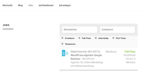 WordPress Jobboard Job Seite