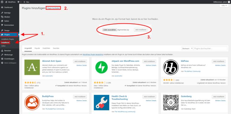 WordPress Mitgliederbereich erstellen Schritt 1