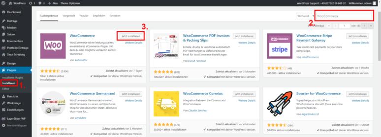 Screenshot WooCommerce installieren