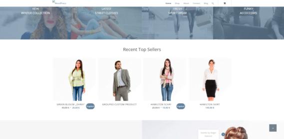 WordPress Shop Startseite